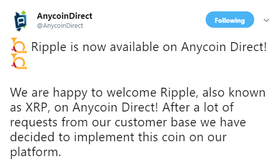anycoin direct ripple xrp