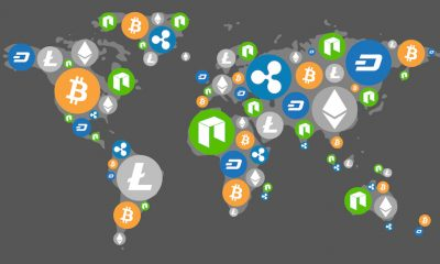 Cryptocurrency World Map Dark