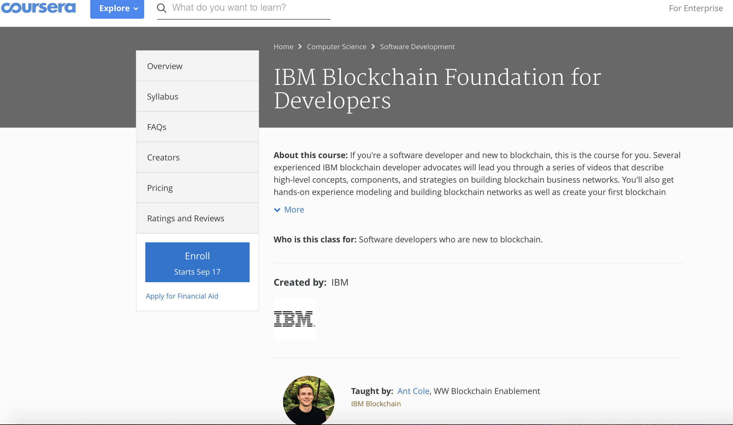 ibm blockchain course