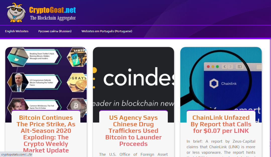 cryptocurrency news aggregator for your website